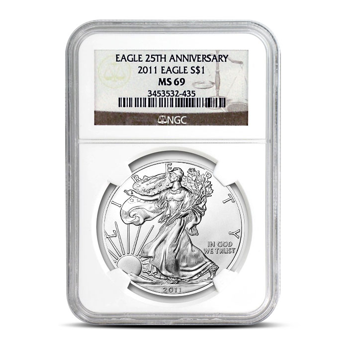 2011 American Silver Eagle 25th Anniversary NGC MS69