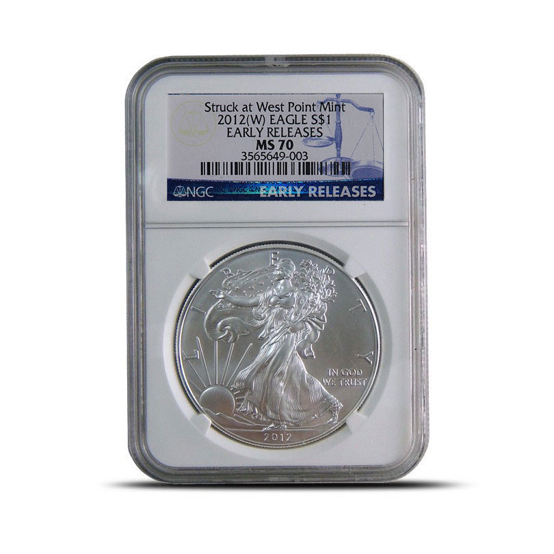 NGC MS70 Early Release 2012 (W) American Silver Eagle Bullion Coin Obverse