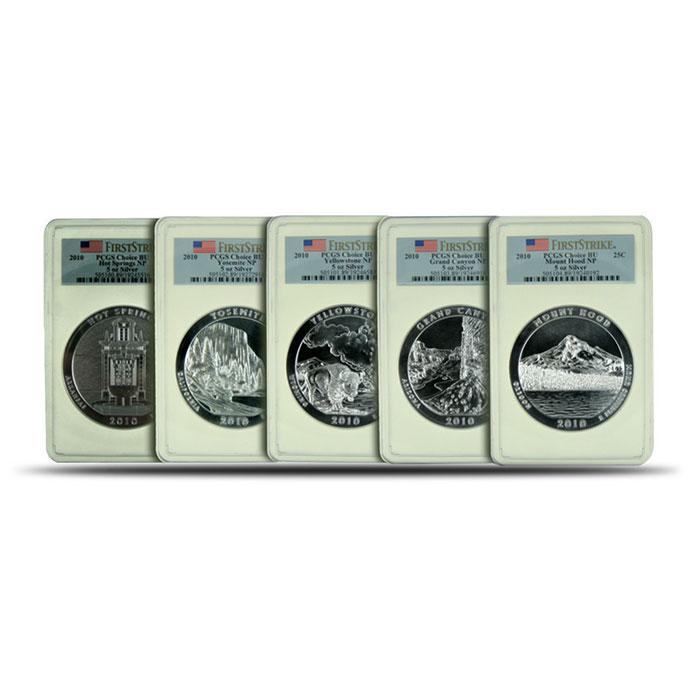 PCGS First Strike 2010- 5 oz Silver ATB 5 Coins Set