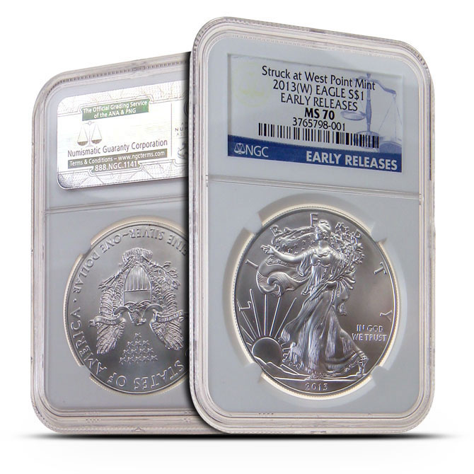 2013 (W) NGC MS70 Early Release American Silver Eagle Obverse & Reverse