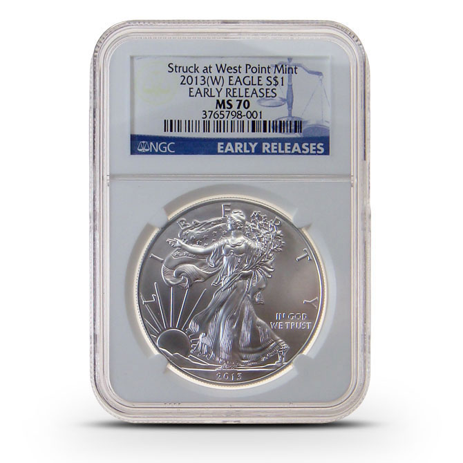 2013 (W) NGC MS70 Early Release American Silver Eagle Obverse