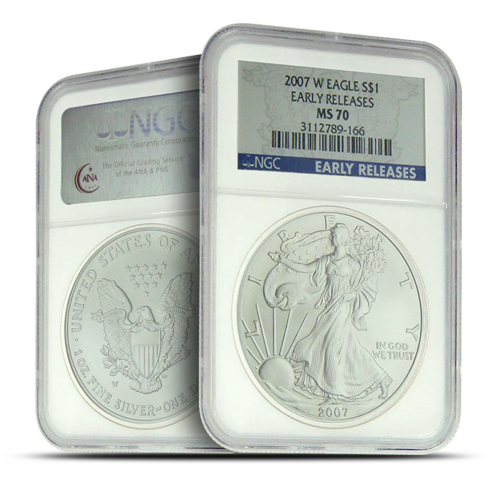 2007-W Burnished Silver Eagle NGC MS70 Early Release