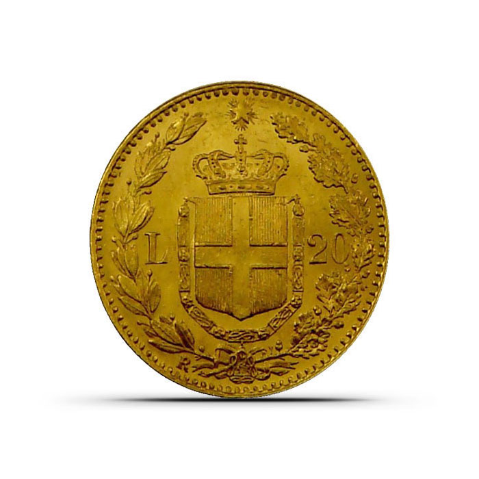 Italy 20 Lire Gold Coin Reverse