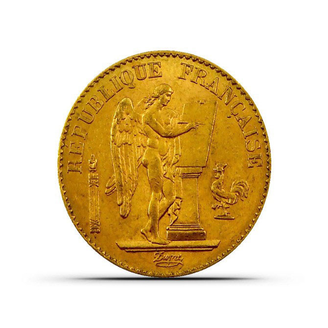 XF+ France 20 Franc Gold Angel Coin Obverse