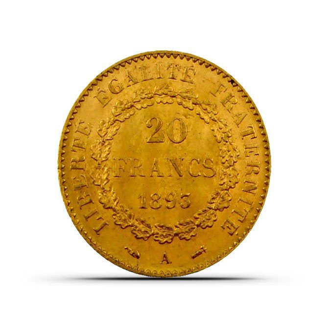XF+ France 20 Franc Gold Angel Coin Reverse