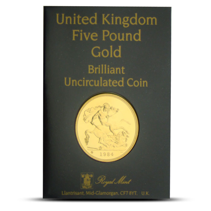 1984 UK 5 Pound Gold Coin Obverse