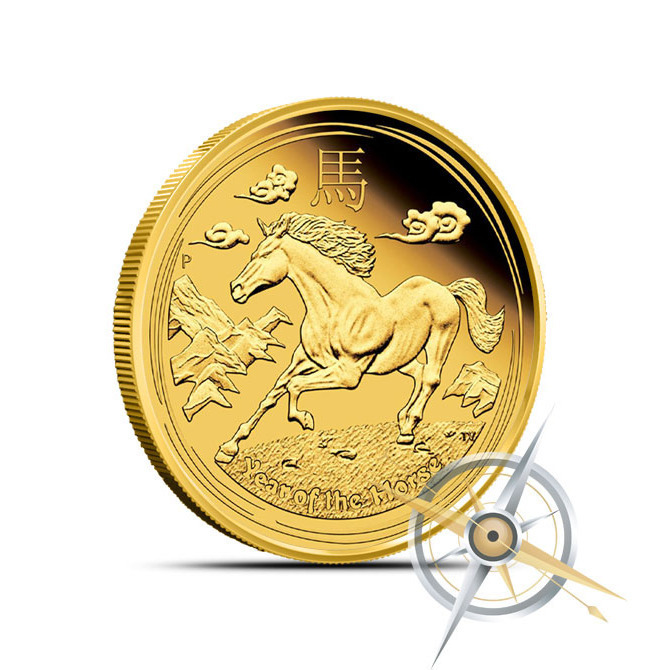 2014 1/4 oz Gold Lunar Year of the Horse Coin | Series 2 Obverse