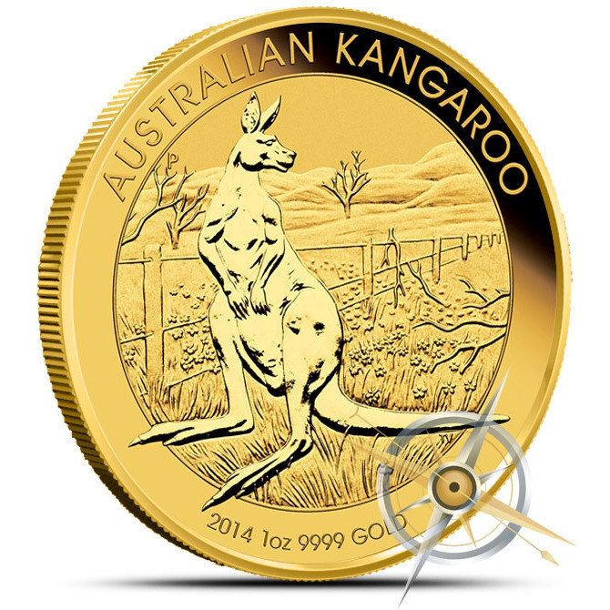 2014 1 oz Australian Gold Kangaroo Coin Obverse