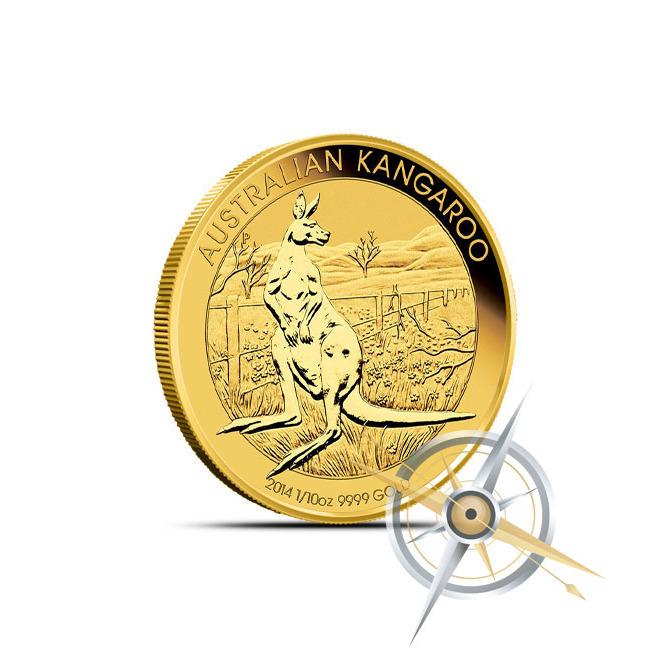 2014 1/10 oz Australian Gold Kangaroo Obverse
