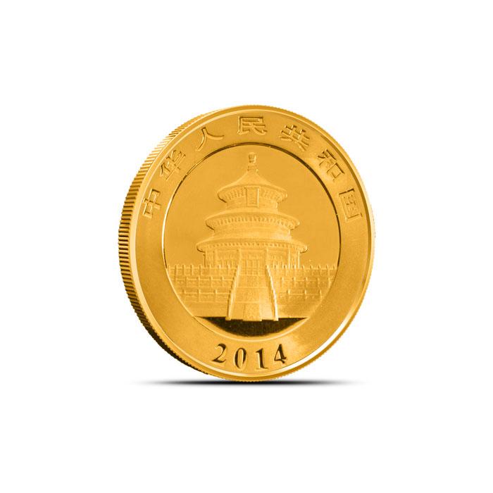 2014 1/10 oz Chinese Gold Panda Coin Reverse