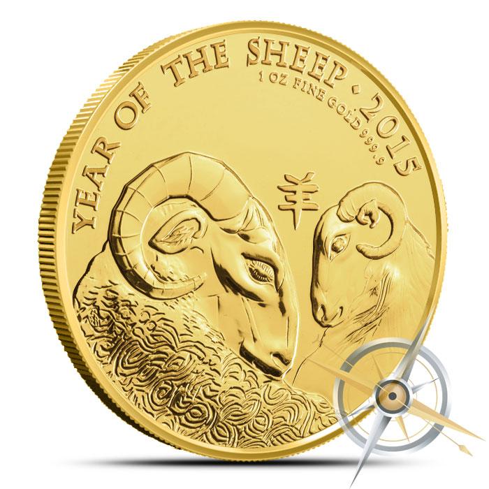 2015 British Royal Mint 1 oz Gold Lunar Year of the Sheep Coin