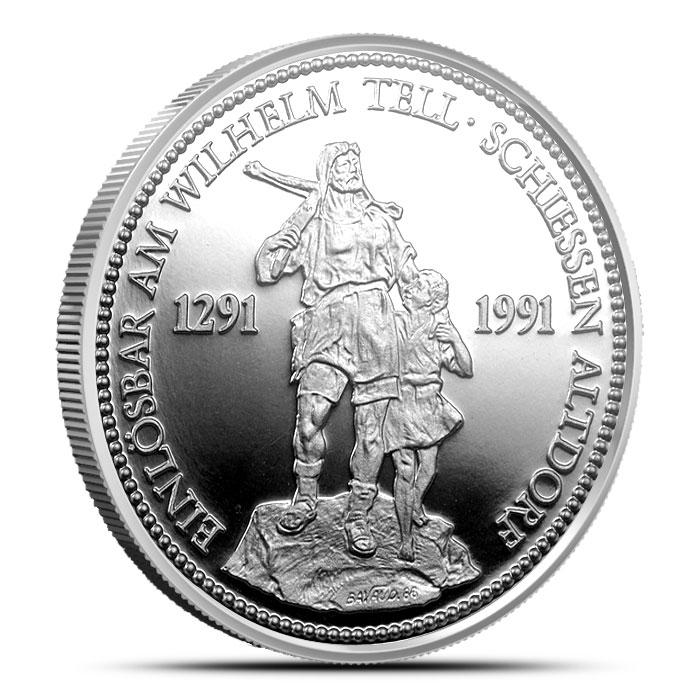 William Tell Shooting Thayer Swiss 1 oz Platinum Coin Obverse