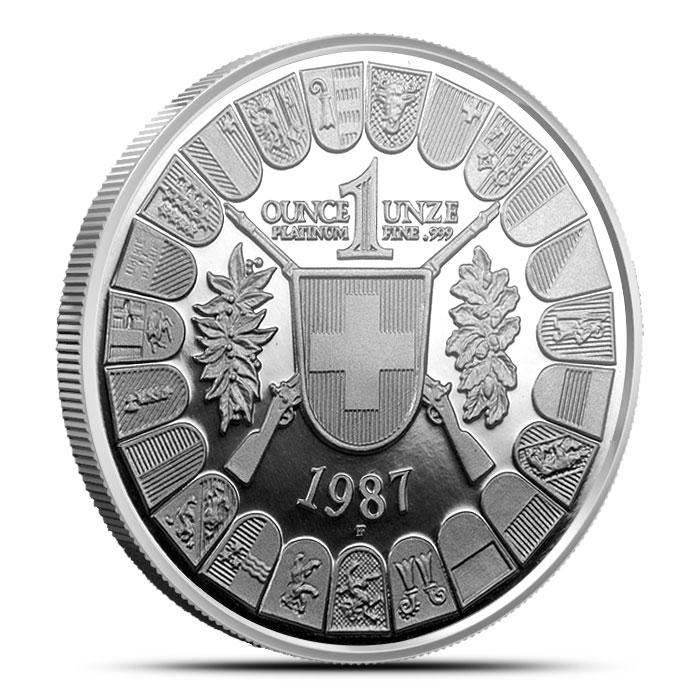 Swiss 1 oz Platinum Thayer Reverse 1987 William Tell