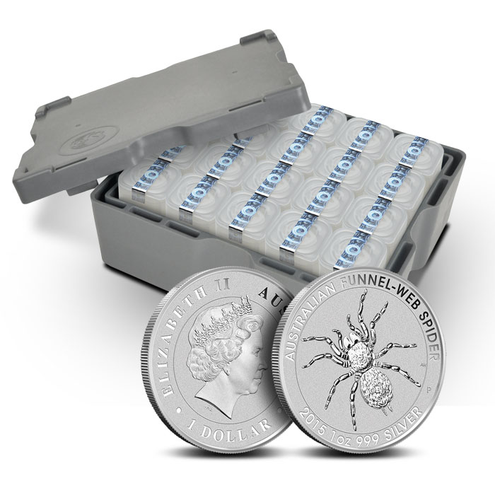 2015 1 oz Silver Funnel-Web Spider monster box