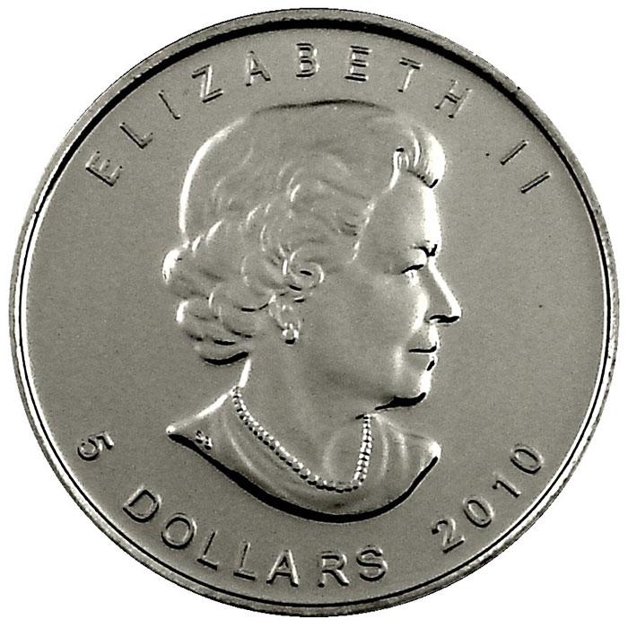 2010 1 oz Canadian Silver Maple Leaf Obverse