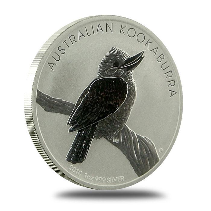 1 oz 2010 Australian Kookaburra .999 Fine Silver Coin Obverse