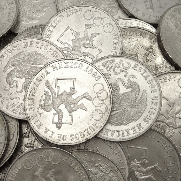 1968 Mexican 25 Pesos Olympic Silver Coins