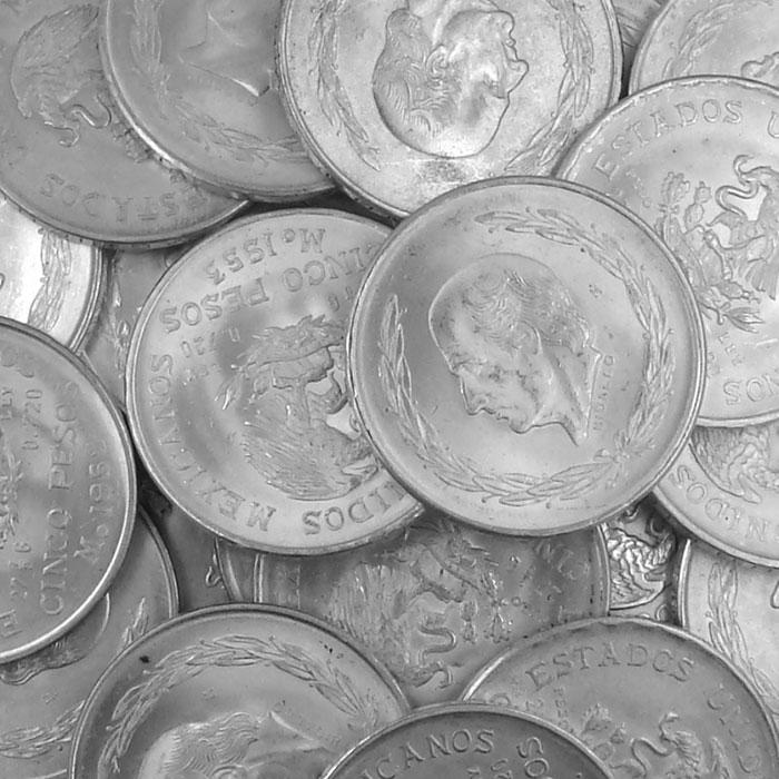 Mexican 5 Pesos Silver Hidalgo Coins