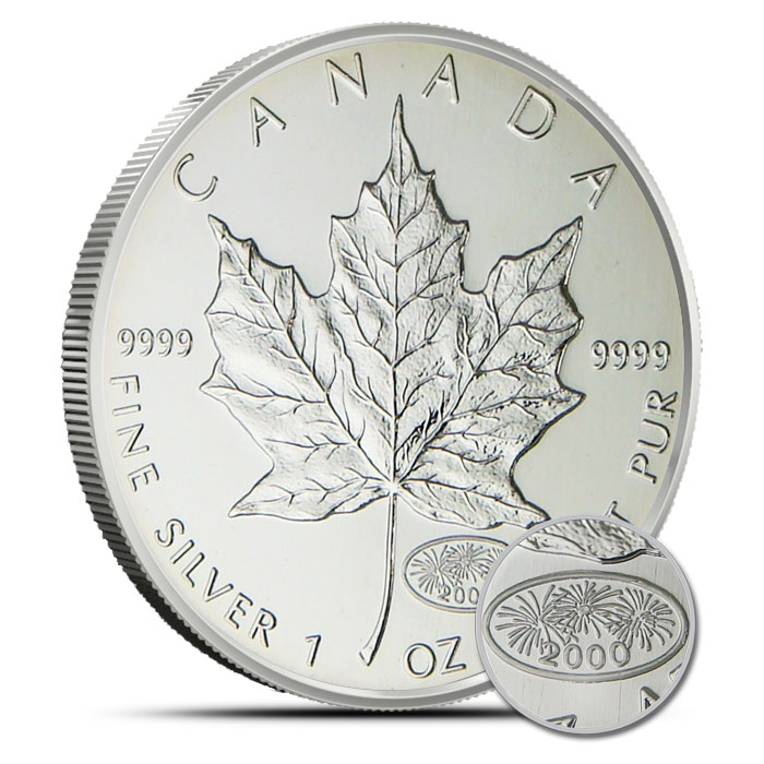 2000 Canadian 1 oz Silver Maple Fireworks Reverse