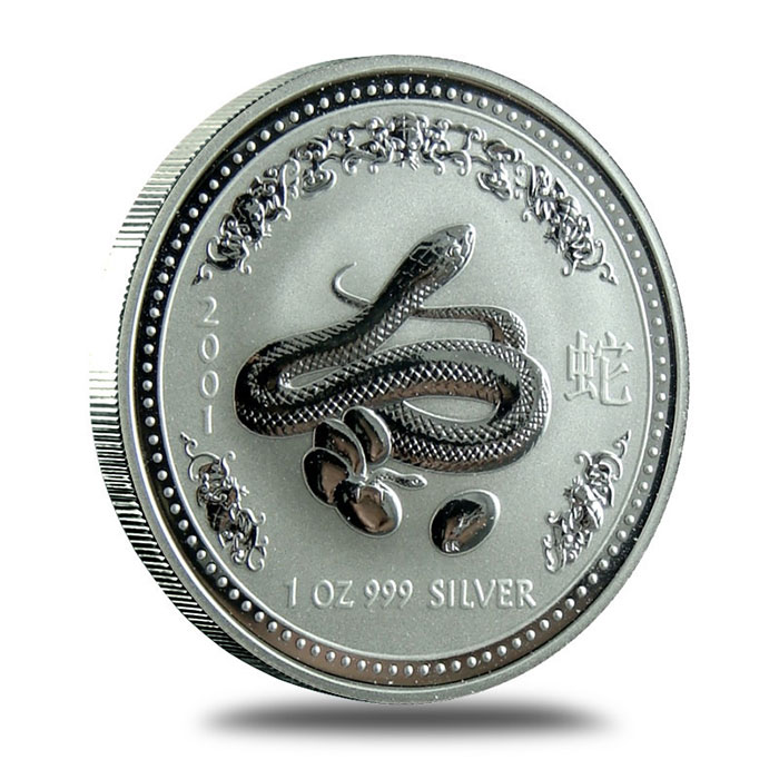 Perth Mint Lunar Series 1 2001 1 oz Silver Year of the Snake Bullion Coin