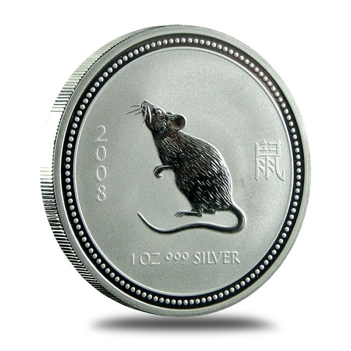 Perth Mint Lunar Series 1 2008 1 oz Silver Year of the Mouse Bullion Coin