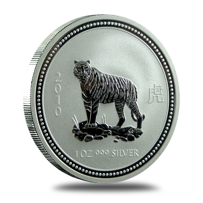 Perth Mint Lunar Series 1 2010 1 oz Silver Year of the Tiger Coin Obverse