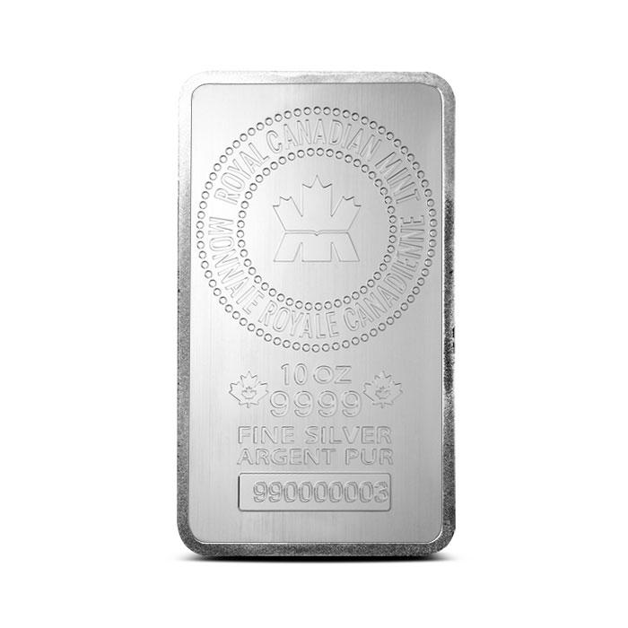 10 oz RCM Royal Canadian Mint   .9999 Fine Silver Bar