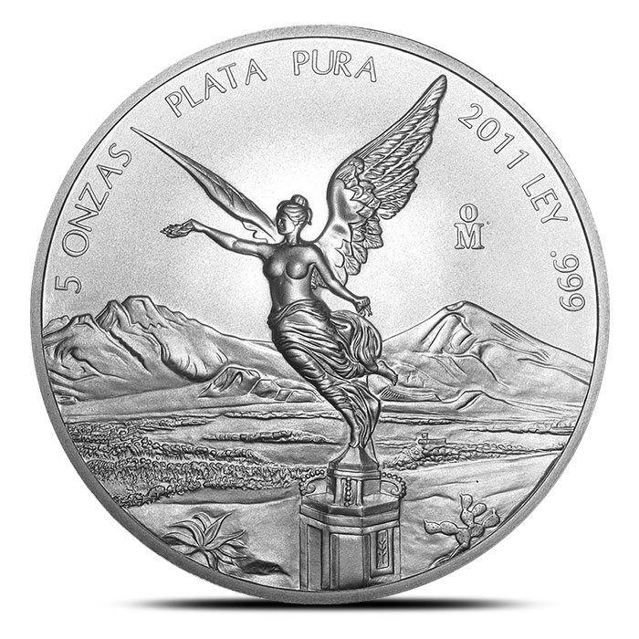 2011 Mexican 5 ounce Silver Libertad Obverse