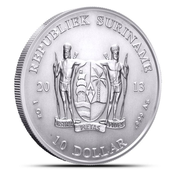 2013 Suriname 1 oz Silver Coin Obverse