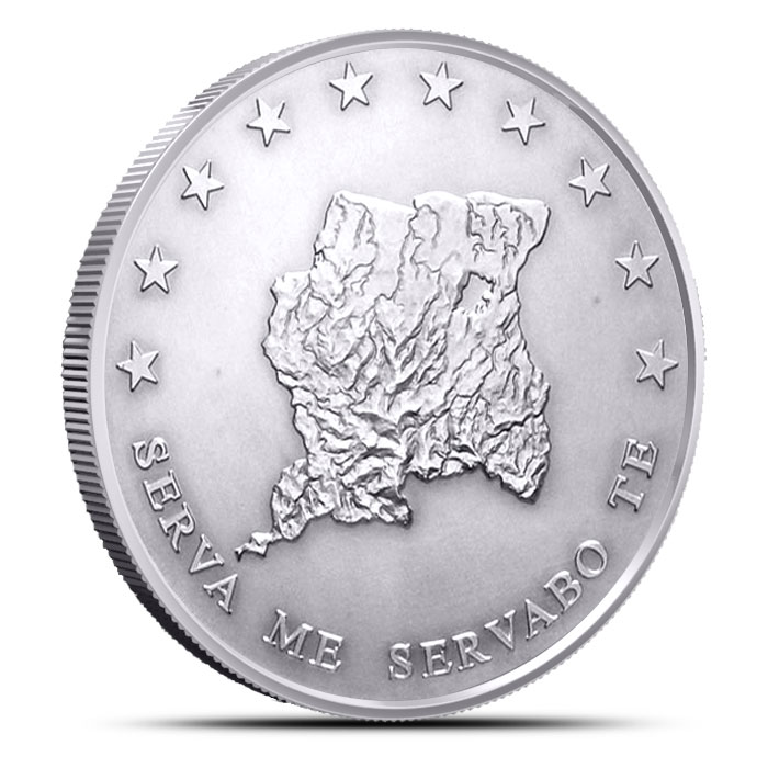 2013 1 ounce Silver Bullion Suriname Coin Reverse