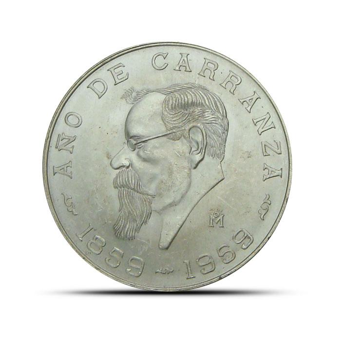 Mexican Silver 5 Pesos Coin Carranza 1959