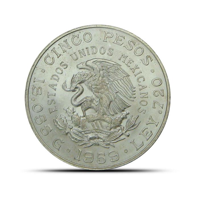1959 Carranza Mexican Silver 5 Pesos Coin