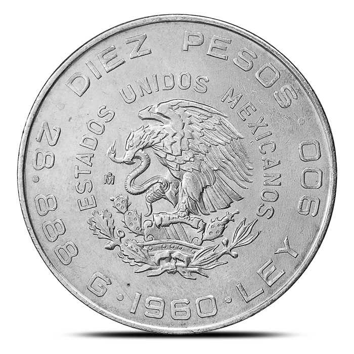 Mexican Silver 10 Pesos Coin 1960