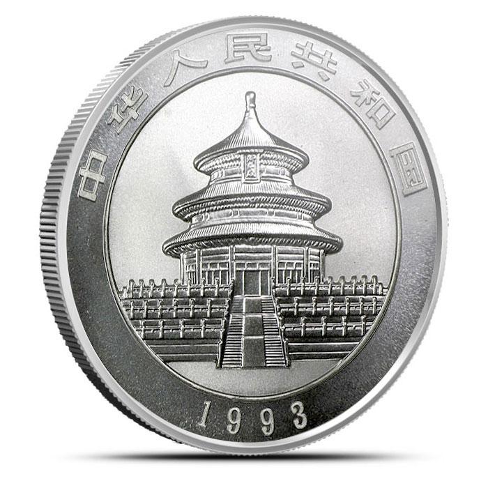 1993 1 ounce Silver Chinese Panda Reverse