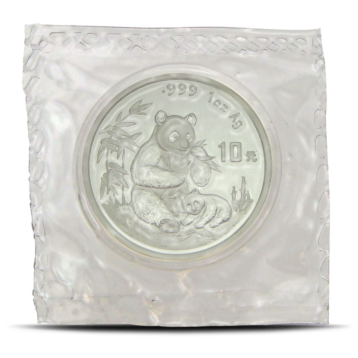 1996 1 ounce Chinese Silver Panda Obverse
