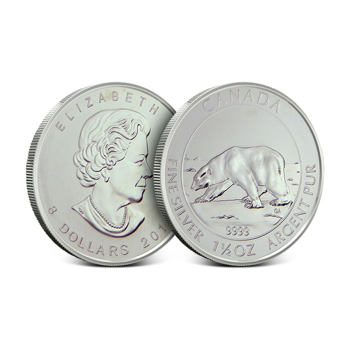 Off Quality 2013 Canadian 1.5 oz Silver Polar Bear