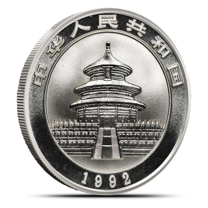1992 1 oz Chinese Silver Panda Reverse