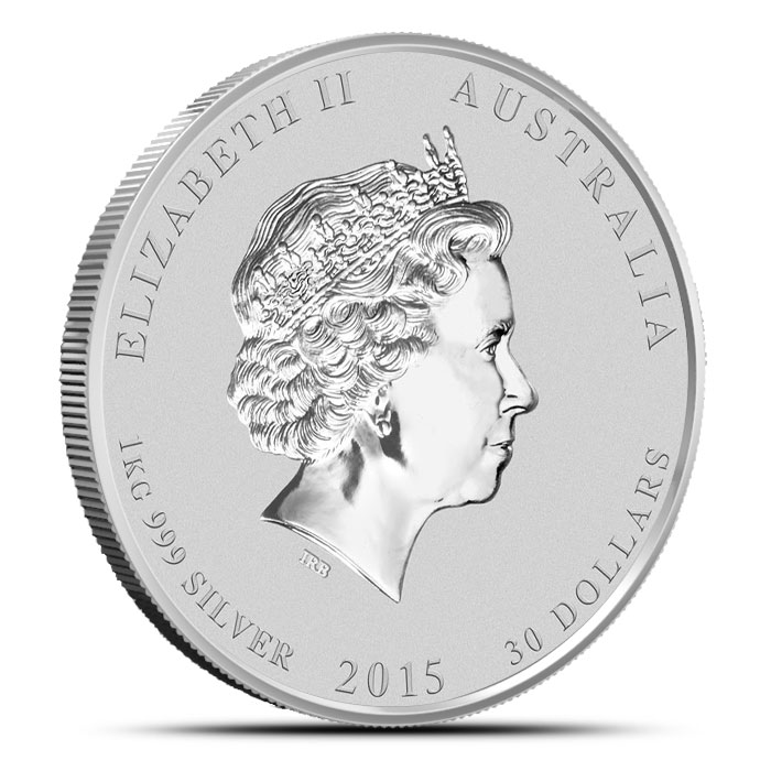 2015 Kilo (32.15 oz) Silver Australian Year of the Goat | Perth Mint Lunar Series 2 Reverse