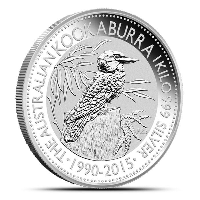 2015 1 Kilo (32.15 oz) Silver Kookaburra Obverse