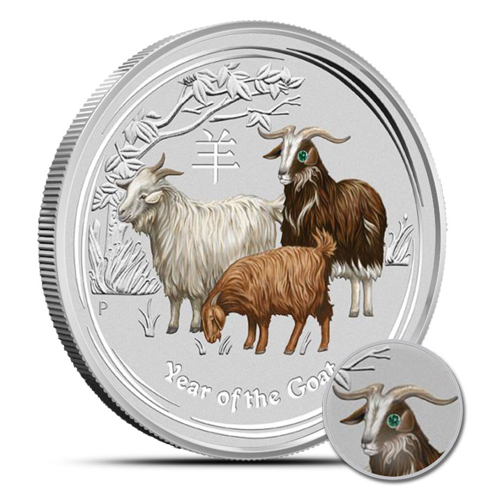 2015 Kilo (32.15 oz) Silver Australian Year of the Goat Gemstone Coin obverse