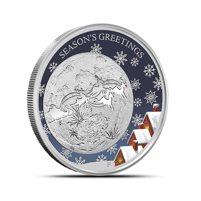 2014 Perth Mint Christmas 1/2oz Silver Proof Coin | Santa Claus and his Reindeer