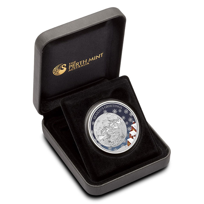 2014 Perth Mint Christmas 1/2oz Silver Proof Coin | Santa Claus and his Reindeer Coin Sert