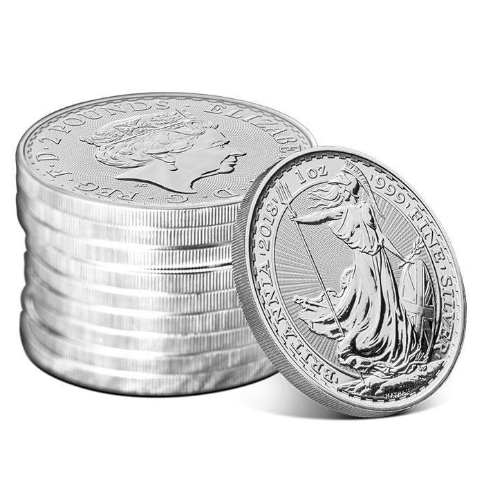 2018 1 oz Silver Britannia Stack