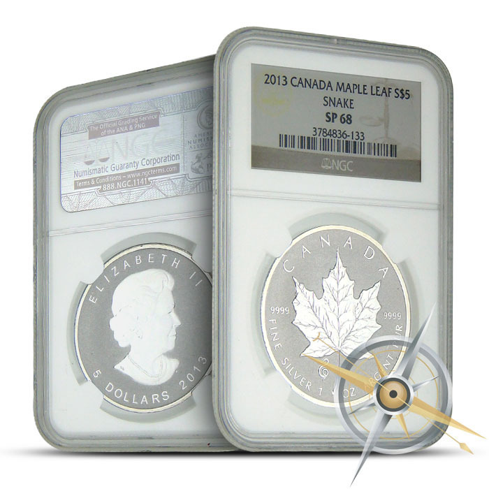 2013 1 oz Canadian Silver Maple Snake Privy | NGC SP68