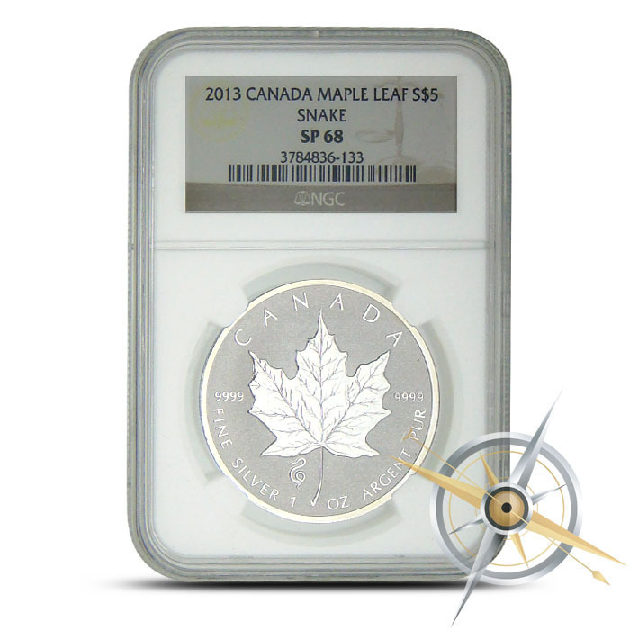2013 1 ounce Canadian Silver Maple Snake Privy NGC SP68