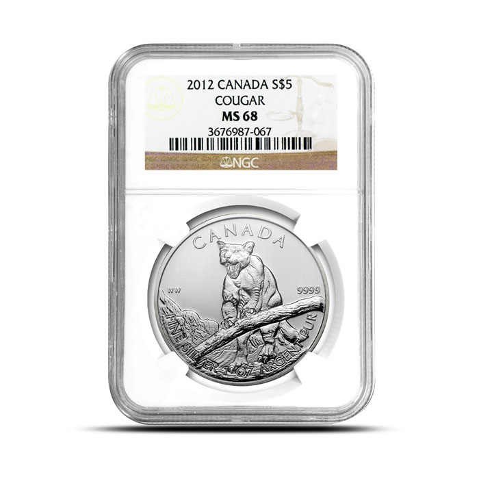 2012 1 oz Canadian Silver Cougar | NGC MS68 Obverse