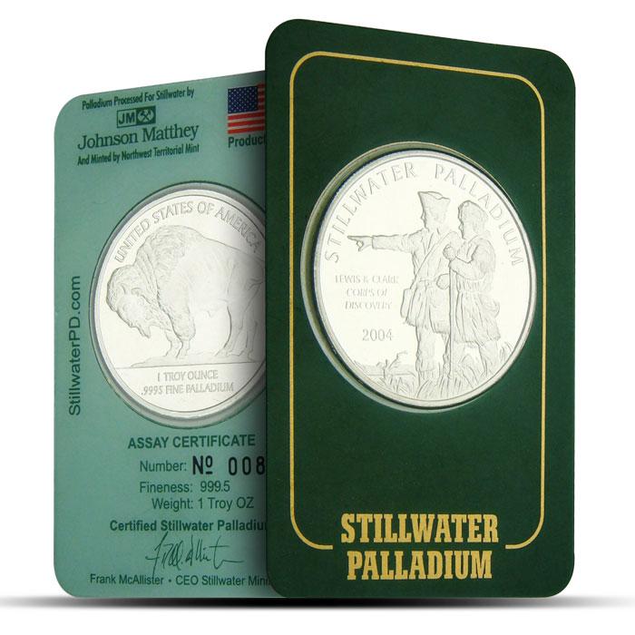 1 oz JM Stillwater Palladium Lewis & Clark Round