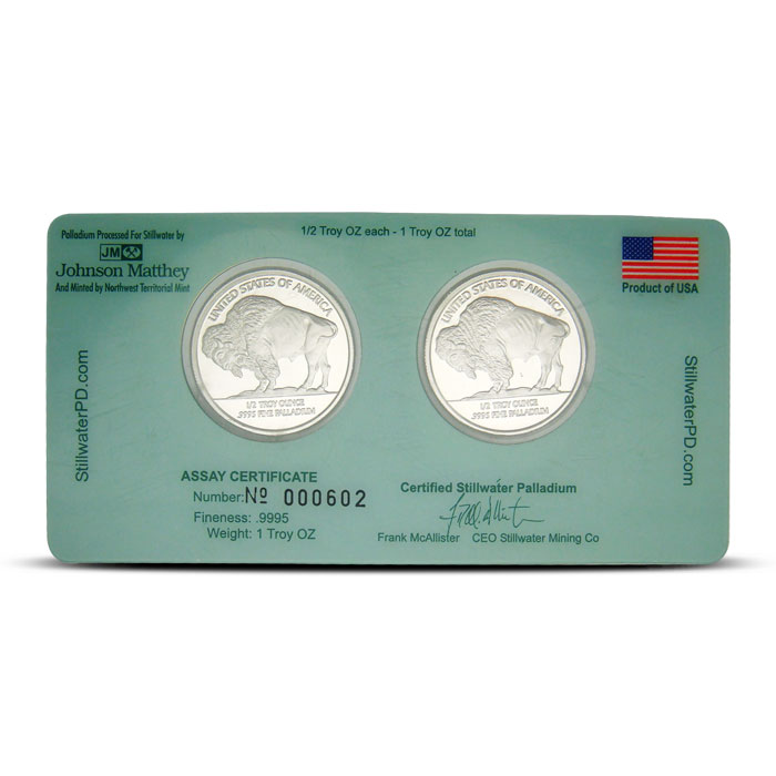 2- 1/2 Oz Stillwater Palladium Rounds