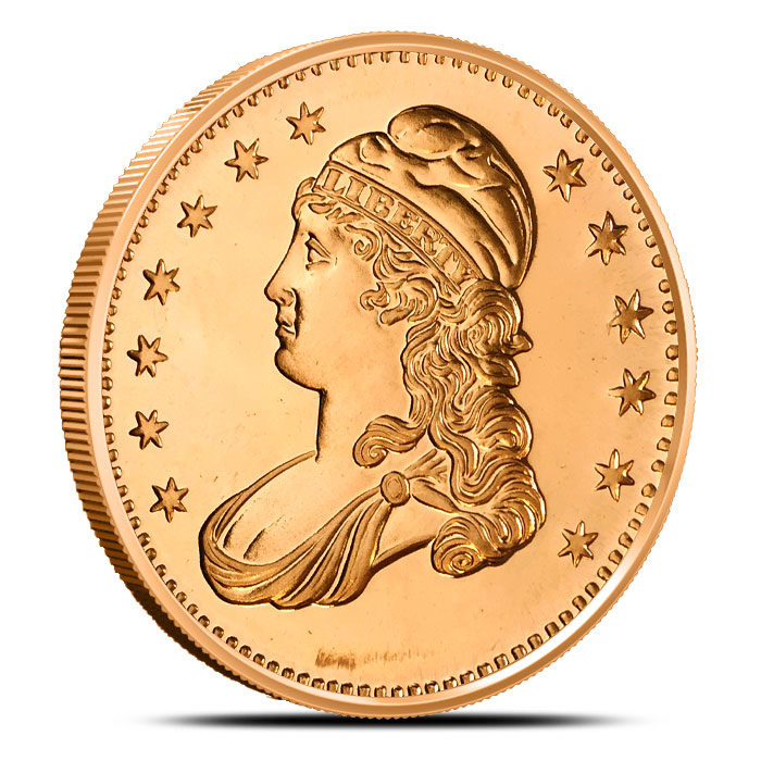 Capped Bust 1 oz Copper Round