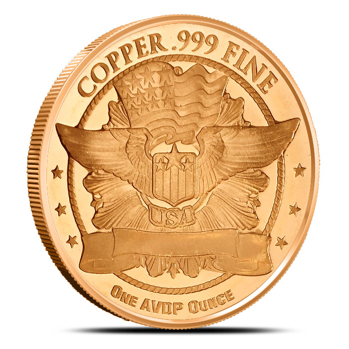 Flowing Hair Dollar one ounce Copper Round